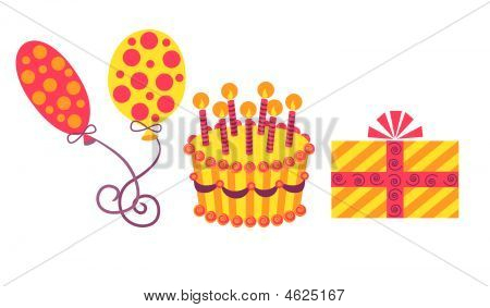 Vector Illustration Of Birthday Set