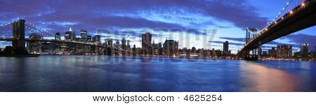 New York City panoramic with view of Brooklyn and Manhattan Bridge poster