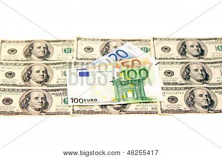Zwei führenden Währungen - Us-Dollar und Euro