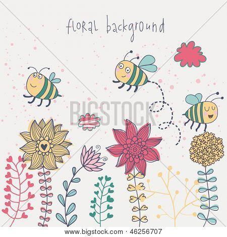Cute floral background with bees and clouds. Vector retro banner with flowers and place for text