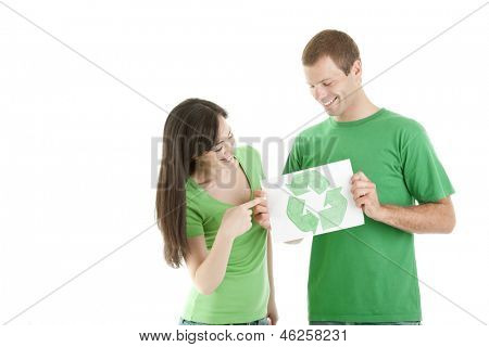 People holding recycling symbol, isolated on white