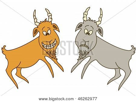 Rock painting of the ancient artist: two goats - sad and cheerful poster