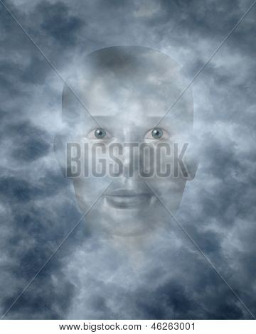 Spiritual faces peering through clouds possibly a god or deity poster