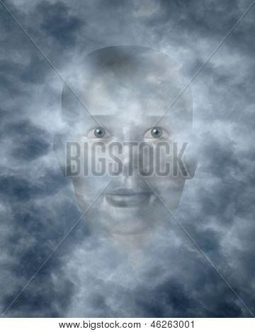 Spiritual Faces Peering Through Clouds