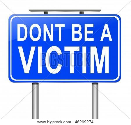 Illustration depicting a sign with a victim concept. poster