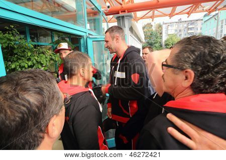 MOSCOW - SEP 7: Boxer Vitali Klitschko before the fight with Manuel Charr in the Olympic Sports Complex on September 7, 2012 in Moscow, Russia.