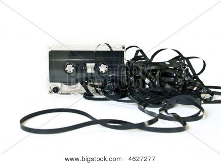 Old Audio Cassette On White