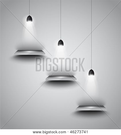 Shef with 3 spotlights lamp with directional light for product advertisement, shopfront simulation or wall decoration.