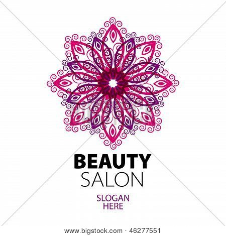 poster of abstract ethnic lace design icon for beauty salon
