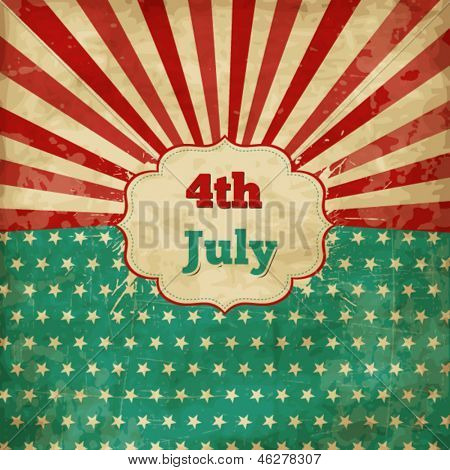 Vintage template for 4th of July with stars and lines