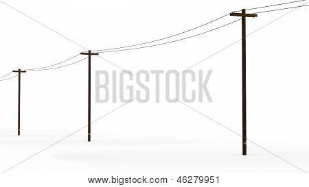 3D Rendered Power Poles