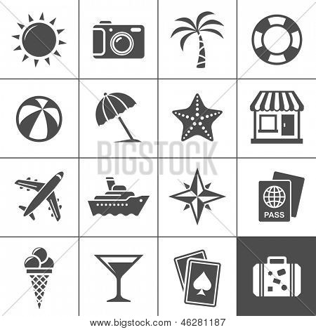 Vacation and travel icon set. Simplus series. Each icon is a single object (compound path)