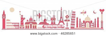 World Landmarks - Vector Illustration
