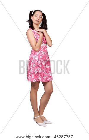 Retro Girl In A Pink Dress