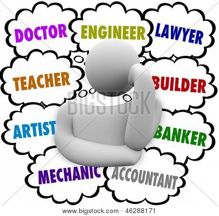 A thinker surrounded by thought clouds full of job ideas such as teacher, lawyer, mechanic, accountant, artist, doctor, builder, banker and engineer