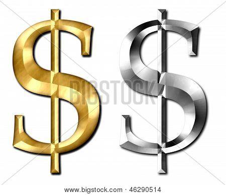 Dollar Sign Silver Gold