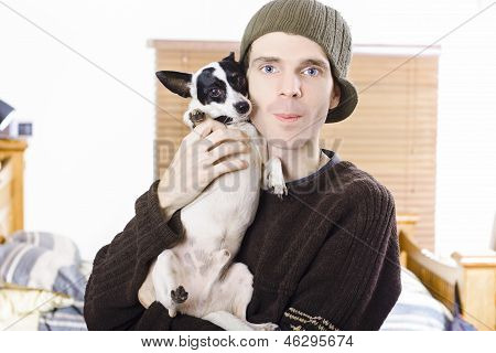 Young Casual Lifestyle Man With Small Dog