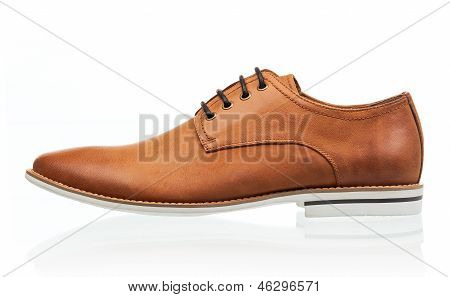 Brown men shoe isolated over white