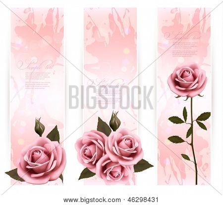 Three holiday banners with pink beautiful roses. Vector