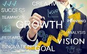 Business man with concepts of growth innovation vision success and creativity with rising arrows poster