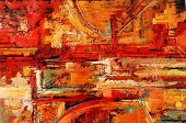 Abstract oil painting in reds and yellows in horizontal format poster