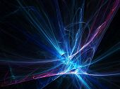 abstract chaos laser rays on dark background poster