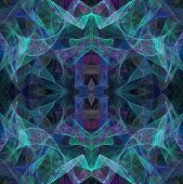 Transparent fractal layers of teal blue and pink in a continuous textile style pattern or background. poster