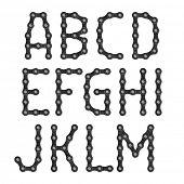Bicycle chain alphabet. Vector.