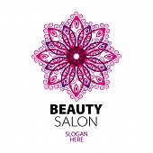 abstract ethnic lace design icon for beauty salon poster