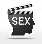 Sex movies and erotic film concept with a movie equipment clapboard shaped as a human head representing the sexual entertaimment film industry. poster