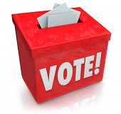 The word Vote on a red ballot box for collecting votes and ballots in a democratic election to choose a new president, governor, representative, senator, congressman or other official or poster
