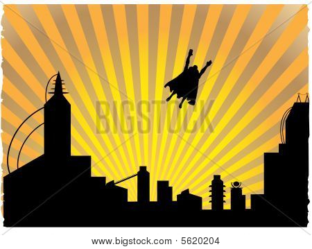 Silhouetted superhero flying off into the sunset
