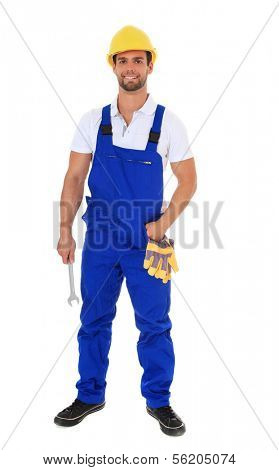 Full length shot of a construction worker. All on white background.
