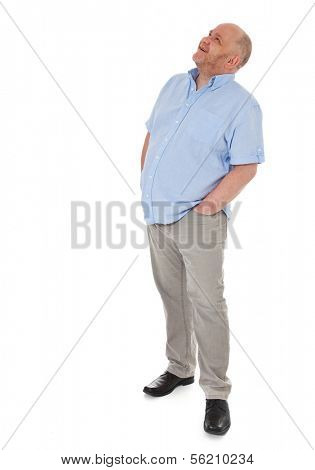 Full length shot of a adult man looking up. All on white background.