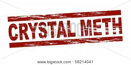 Stylized red stamp showing the term crystal meth. All on white background.