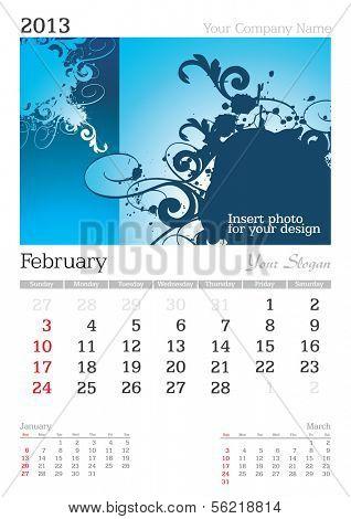 February 2013 A3 calendar - vector illustration