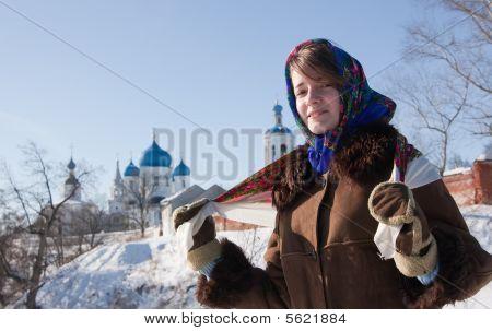 Girl In Russian Traditional Kerchief