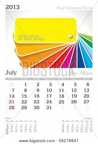 July 2013 A3 calendar - vector illustration