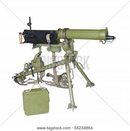 Maxim's Machine Gun On A Tripod Sighting