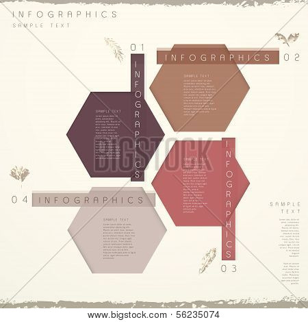 classic style vector abstract hexagon tag infographic elements poster