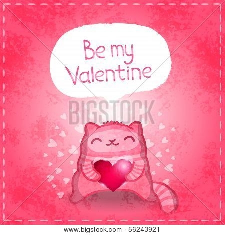 Happy Valentines card. Cute cat with heart.
