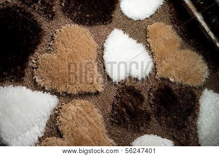 Heart Shape Carpet At Close Up