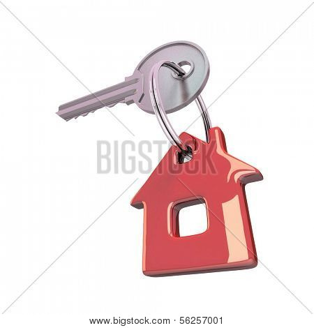 Key  isolated on white. 3d illustration.