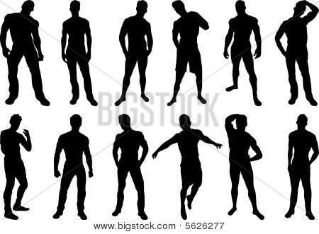 Set of 12 sexy men silhouettes on white background poster