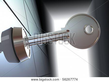 The key. 3d illustration.