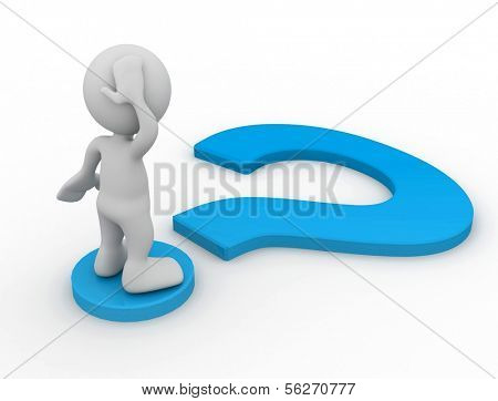 3d human with a blue question mark. 3d illustration.