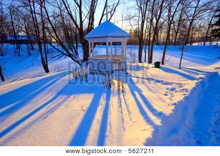 Winter park at sunset Boldino national park Russia poster