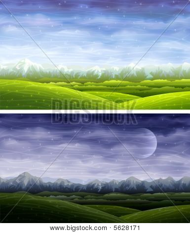 Day and night rolling summer landscapes