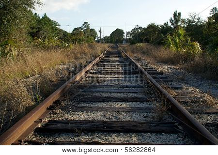 Looking Down Railroad Tracks Towards Street