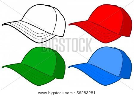 Vector illustration of a baseball hat or cap. All objects and details are isolated. Colors and white background color are easy to adjust/customize.